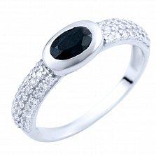 Серебряное кольцо Алсу с сапфиром и фианитами