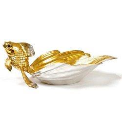 Серебряная икорница Сказочная Рыбка с позолотой