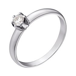 Кольцо из белого золота с бриллиантом, 0,14ct 000034597