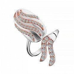Кольцо на ноготь из серебра с позолотой и фианитами 000028037