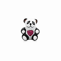 Серебряная подвеска-шарм Влюбленная панда с эмалью и имитацией рубина