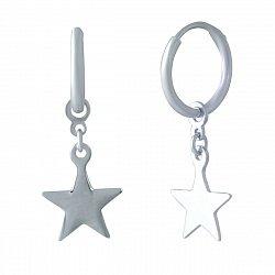Серебряные серьги-подвески Звезда в стиле минимализм