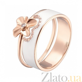 Двойное кольцо в розовом золоте Августина с эмалью и фианитами 000044959