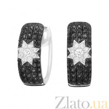 Серьги из белого золота Ночные звезды с черными и белыми бриллиантами 000081241