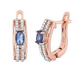 Позолоченные серебряные серьги Шеннон с синим и белым цирконием