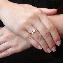 Кольцо из красного золота Эстель с белым фианитом