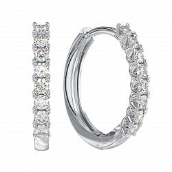 Золотые серьги-колечки Парижанка с бриллиантами