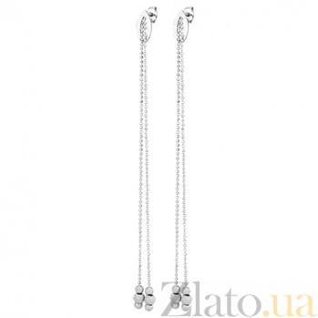 Серебряные серьги-подвески Бусинки SLX--8822Р