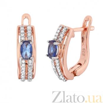 Позолоченные серебряные серьги Шеннон с синим и белым цирконием SLX--СК3ФС/339