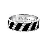 Золотое кольцо с бриллиантами и эмалью Наслаждение и долг