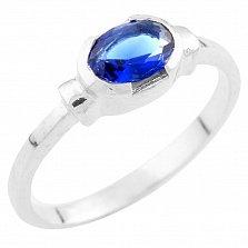 Серебряное кольцо Орнелла с синтезированным сапфиром