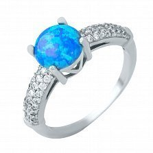 Серебряное кольцо Виола с голубым опалом и фианитами