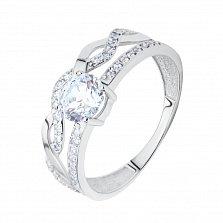 Золотое двойное кольцо Касия с плетением на широкой части шинки, кристаллом Swarovski и фианитами