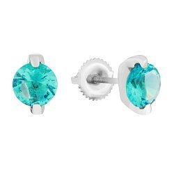 Серьги-пуссеты из серебра с голубыми фианитами 000039792