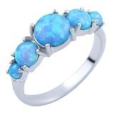 Кольцо из серебра Джанна с голубыми опалами
