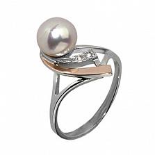 Серебряное кольцо Восток с золотой вставкой, жемчугом и фианитами