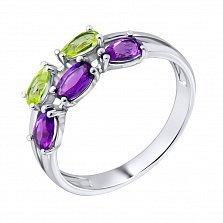 Серебряное кольцо с аметистом и зелеными гранатами 000123504