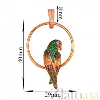 Подвеска из красного золота Попугай с разноцветными фианитами VLT--ТТ3391-2