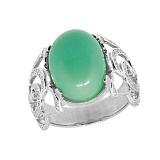 Серебряное кольцо Хайди с хризопразом и бриллиантами