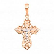 Золотой крестик Посланник небес в комбинированном цвете с фианитами