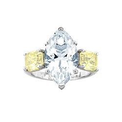 Золотое кольцо с топазом и цитринами Маркиз