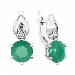 Серебряные серьги с зеленым агатом и фианитами 000134826