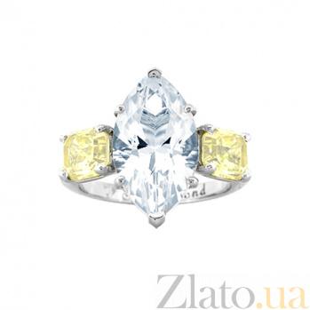 Золотое кольцо с топазом и цитринами Маркиз 000029624