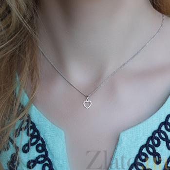 Золотой кулончик с цирконами Сердце SVA--3101025102/Фианит/Цирконий