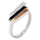 Серебряное кольцо с золотой вставкой и цирконием Сара