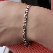 Серебряный родированный браслет с цирконием Скарлетт