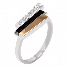Серебряное кольцо Сара с золотой вставкой, ониксом и цирконием
