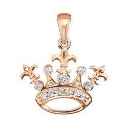 Кулон-корона из красного золота с фианитами 000125395
