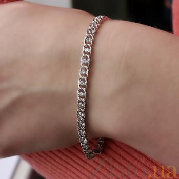 Серебряный браслет Мирена с белым цирконием 000039237
