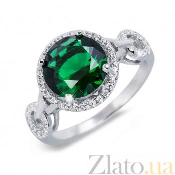 Кольцо из серебра с зеленым цирконом Мириам 000027139
