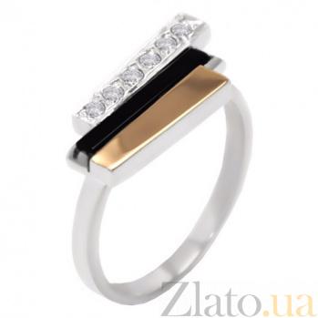 Серебряное кольцо Сара с золотой вставкой, ониксом и цирконием  BGS--321к