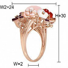 Золотое кольцо Прелесть с опалами, гранатами, аметистами, бриллиантами и перламутром