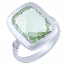 Кольцо из серебра Ингрет с зеленым аметистом и цирконием