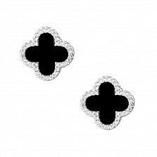 Серебряные серьги Эльза с фианитами в стиле Ван Клиф