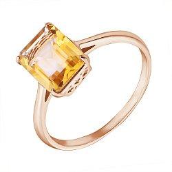Кольцо из красного золота с цитрином 000132358