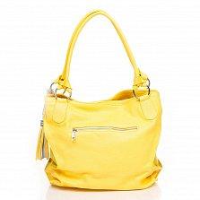 Кожаная сумка на каждый день Genuine Leather 8954 желтого цвета с декоративной кистью на цепочке