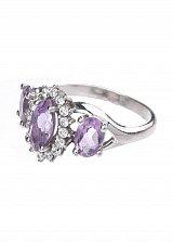 Серебряное кольцо Фресси с цветочком, аметистами и белыми фианитами