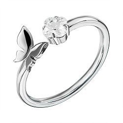 Серебряное разомкнутое кольцо с фианитом 000136800