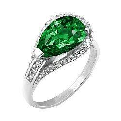 Серебряное родированное кольцо с зеленым альпинитом и белыми фианитами 000106050