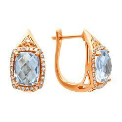 Серьги из красного золота с голубыми топазами и бриллиантами 000139477