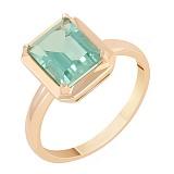 Кольцо в красном золоте Ванесса с синтезированным зеленым кварцем