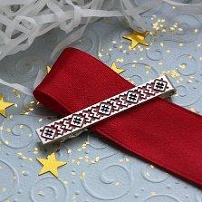 Серебряный зажим для галстука Вышиванка с красно-черной эмалью
