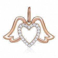 Серебряный подвес с кристаллами циркония Сердце парит