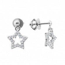 Серебряные серьги-пуссеты Галактика с подвесками-звездами и белыми фианитами