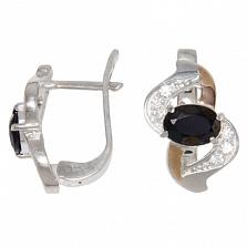 Серебряные серьги со вставками золота и фианитами Водопад