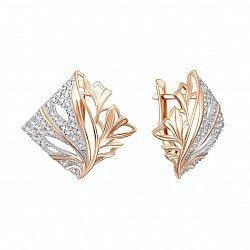 Золотые серьги в комбинированном цвете с фианитами 000135577